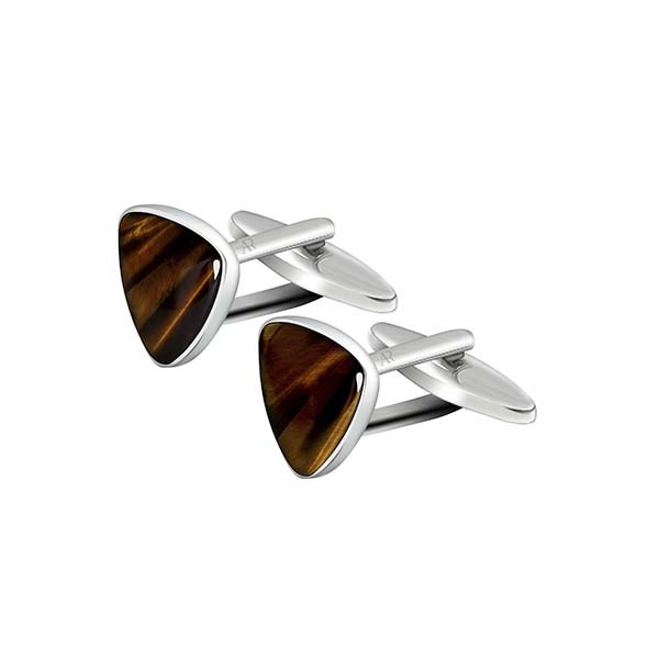 Tigerseye Triangle Cufflink